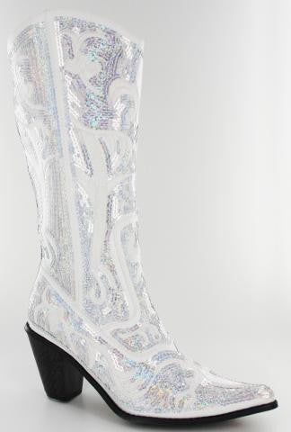 White Sequined Long Bling Bridal Boot