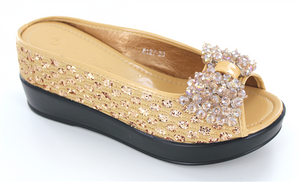 Gold Wedges spotted sequin ladies casual shoe with swarovski bow