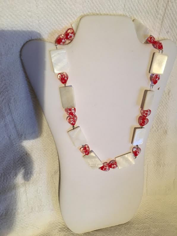 White Mother of Pearl Beaded Necklace with Red Heart Beads