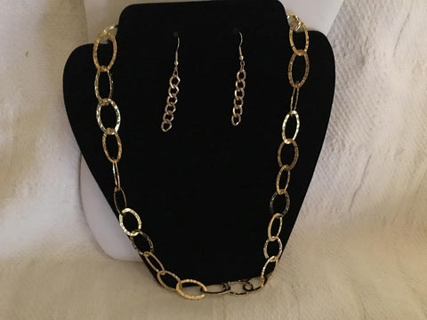 Gold Chain Necklace with Matching Earrings