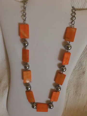 Orange Mother of Pearl With Silver Beaded Chain Necklace