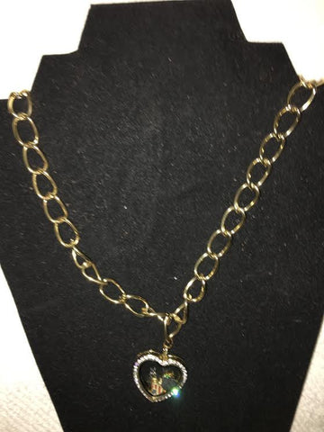 Gold Chain Necklace with Heart Accessory