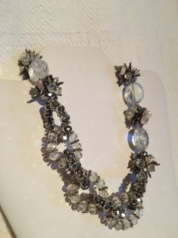 Elegant Silver and Clear Beaded Necklace