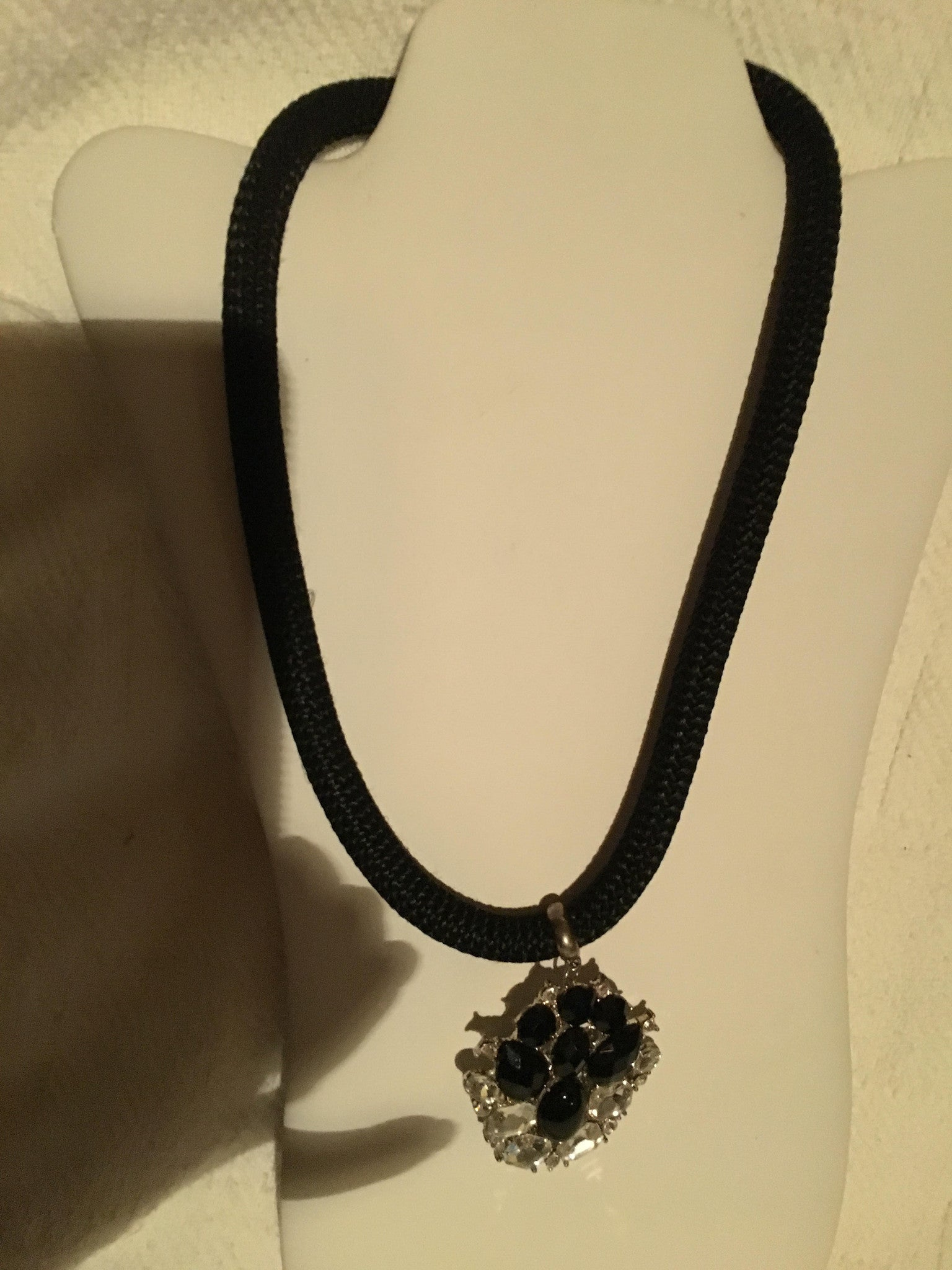Black Rope Necklace with Black Rhinestone and Focal Point