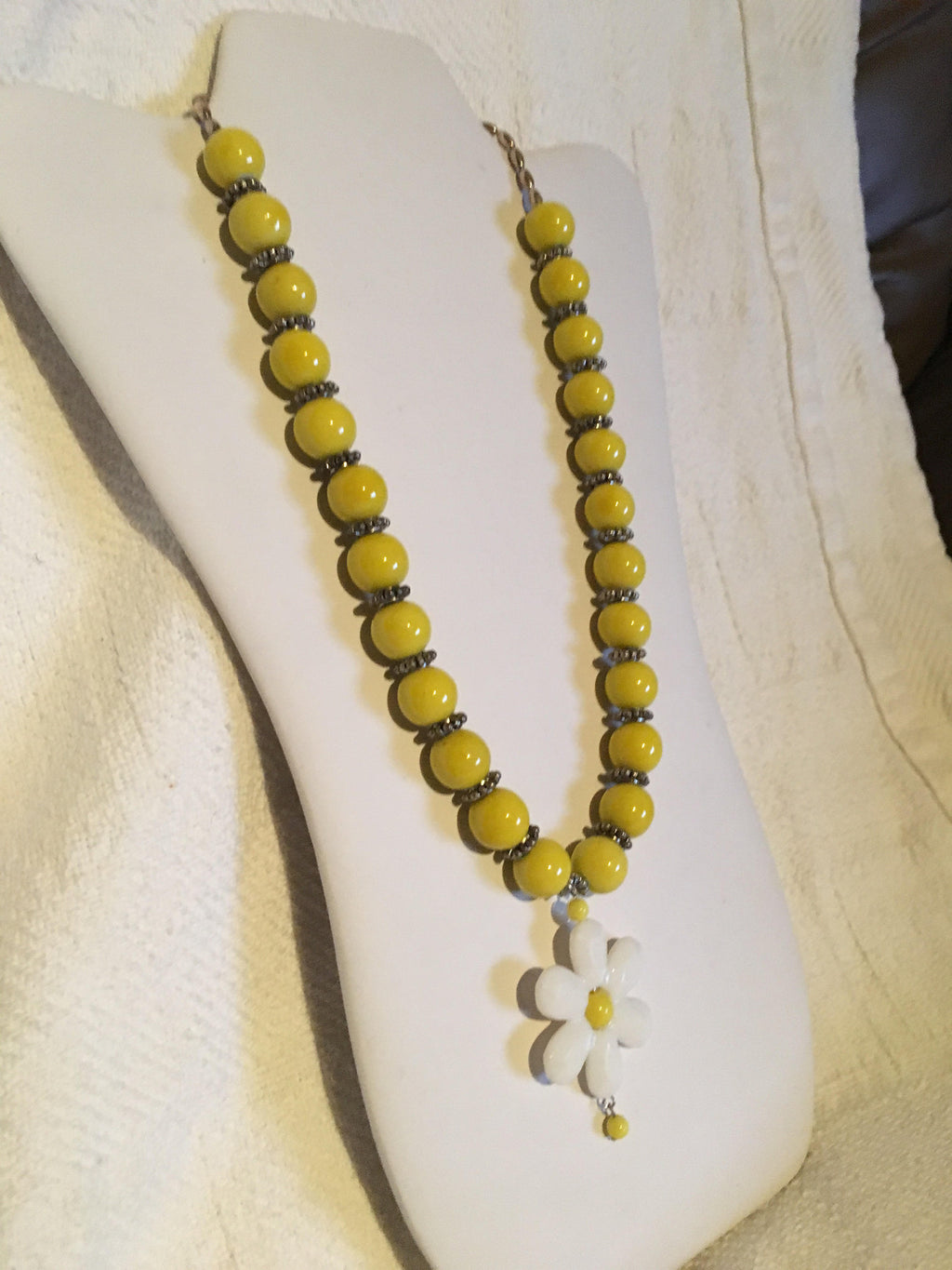 Bright Yellow Beaded Necklace with Flower Focal Point