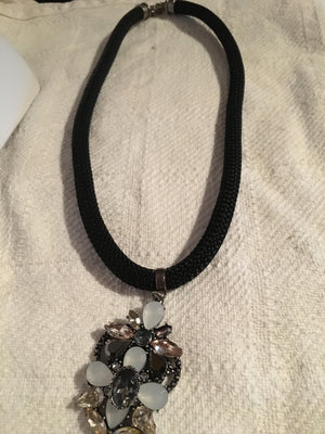 Black Rope Necklace with Jewel Focal Point