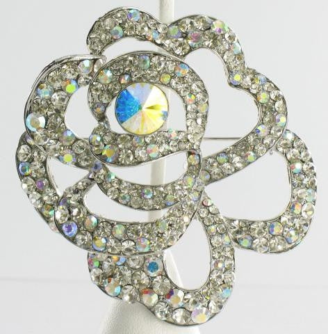 silver base AB stone brooch with unique loop design