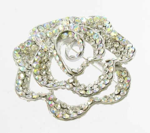 Silver Base AB & Clear Crystal Stone Broach