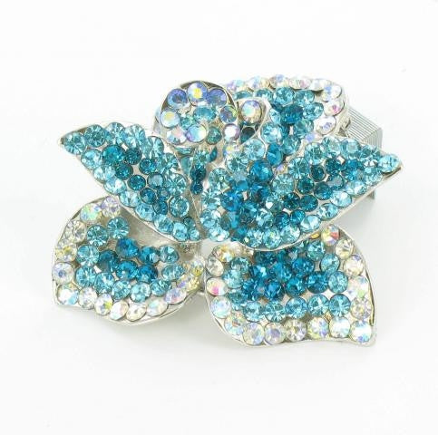 AB & Aquamarine brooch with siver base