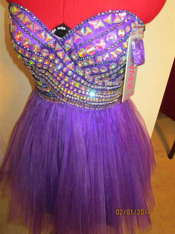 PURPLE Dress any Occassion Stunning Multicolored  jeweled front size2-10