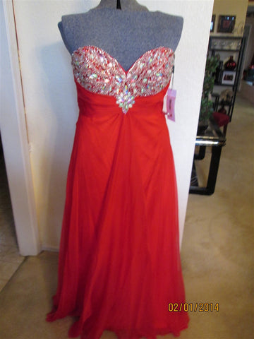 Red Dress any Ocassion Stunning Multicolored  jeweled front size2-10
