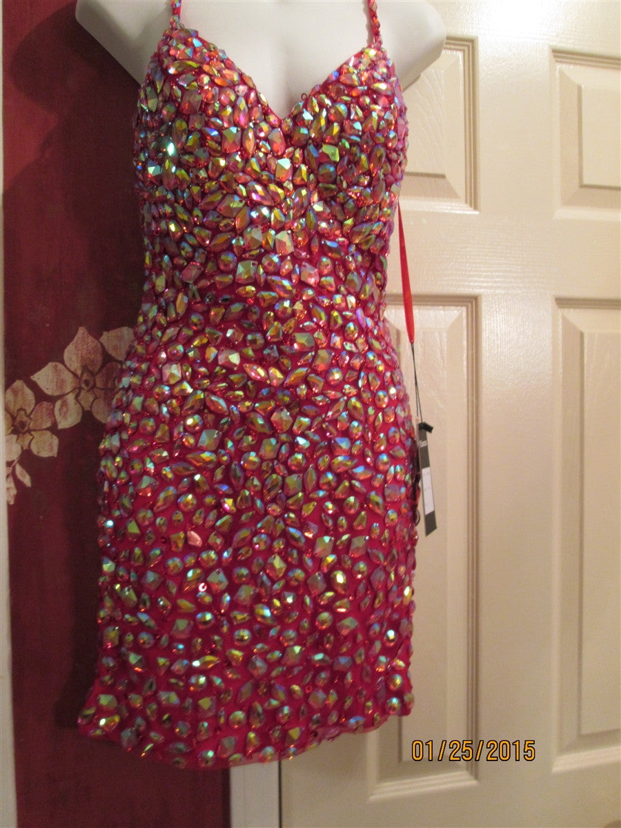 Beige or Nude  Dress any Occassion Stunning Multicolored  jeweled front size2-10