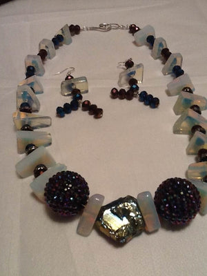 Translucent Glass with Purple and Blue Beaded Necklace Set