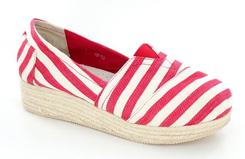 Red and White wedge espadrille