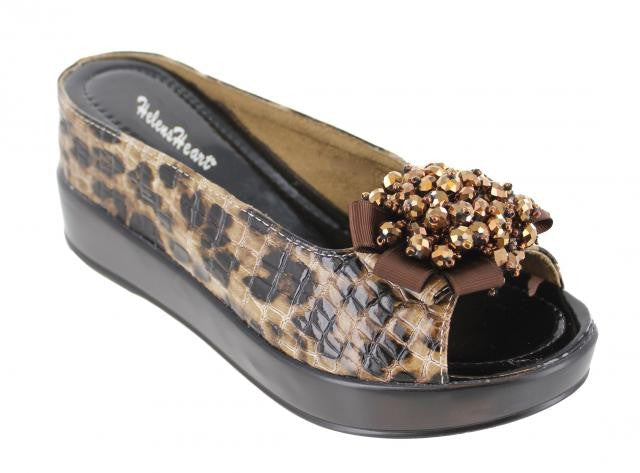 BROWN LEOPARD WEDGE SHOE WITH BORWN RIBBON & GOLD BEADS