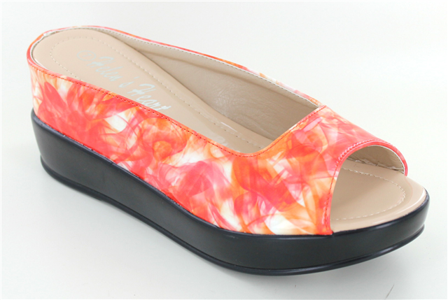Orange platform Wedge shoes with abstract print