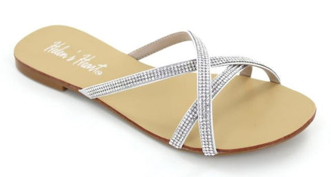 Silver  strappy flat sandal with rhinestone straps