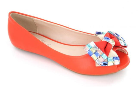 Orange  open toe Ballerina flat