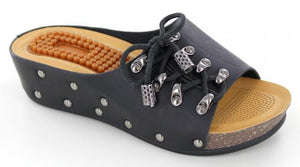 Black wedge w/stud accents