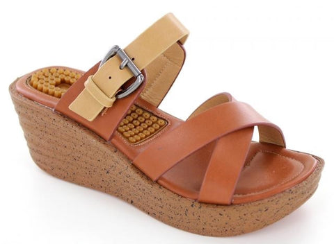 Strappy Brown Wedge Sandal