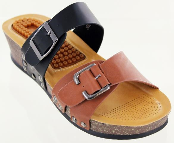 "Black-brown sandal with 1.5"" heel and 1"" sole. Adjustable width, messaging insole"