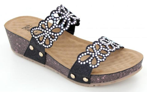 Black Wedge sandal with crystal eyelet strap