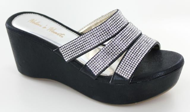 Black wedge with rhinestone strap