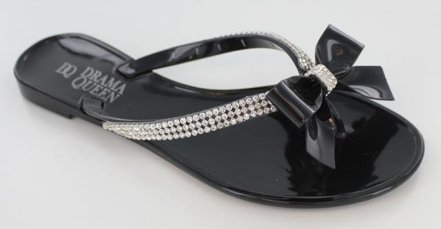 Black  sandal with rhinestone strap and bow accent