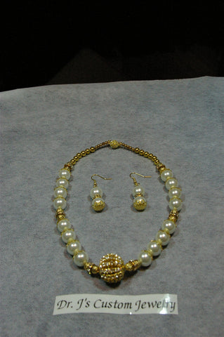 Gold Rondelle and White Glass Beaded Necklace Set