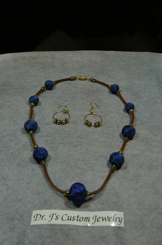 Mesh Royal Blue and Suede Leather Necklace Set