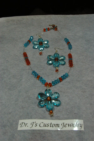 Turquoise and Orange Glass Beaded Floral Necklace Set