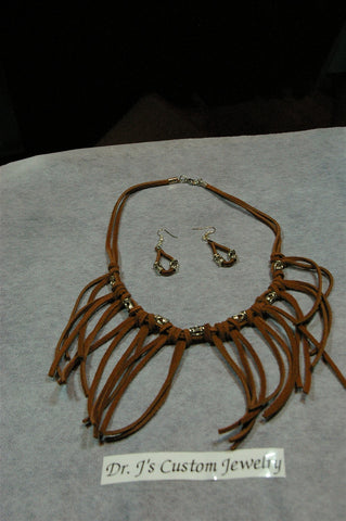 Brown Suede Leather Necklace Set