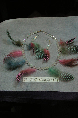 Clear Plastic Beads and Feathered Necklace Set