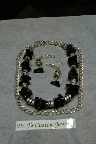 Two Tier Chain with Natural Black Onyx Necklace Set