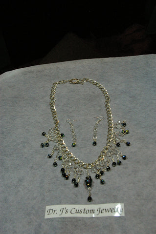 Navy Multicolored Beaded Necklace Set
