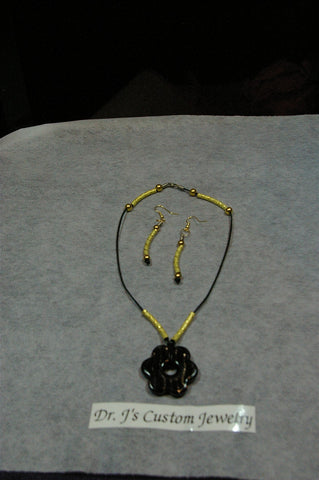 Gold Plated Tubes and Beaded Necklace Set
