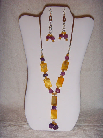 Purple Agate and Yellow Mother of Pearl Necklace set