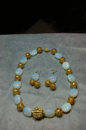 Gold Plated and Opalite Pillow Beaded Necklace Set