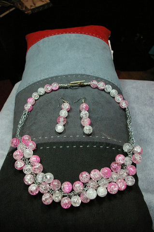 Crocheted Pink and White Glass Beaded Necklace Set