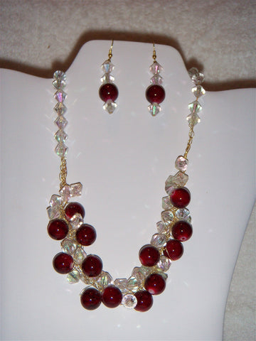 Crocheted Natural Red Agate and Clear Rondelle Beaded Necklace Set