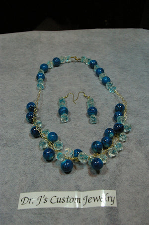 Crocheted Blue and Black Beaded Necklace Set