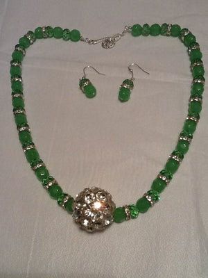Natural Green Aventurine Jade and Green Peridot Beaded Necklace Set