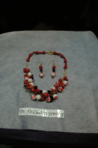 Blood Red Sea Coral and Black Teardrop Beaded Necklace Set