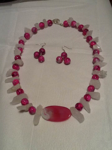 Hot Pink and Black Porcelain Beaded Necklace Set