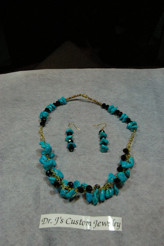 Crocheted Turquoise Agate and Black Rondelle Beaded Necklace Set