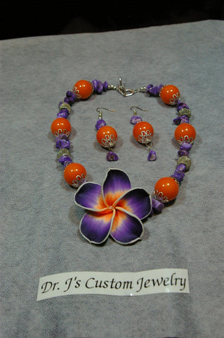 Orange Risin Pearl and Purple Amethyst Crystal Chip Beaded Flower Necklace Set
