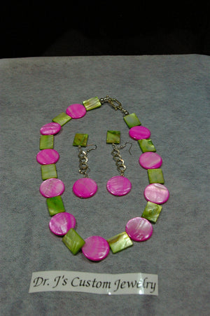 Pink Mother of Pearl and Green Mother of Pearl Necklace Set