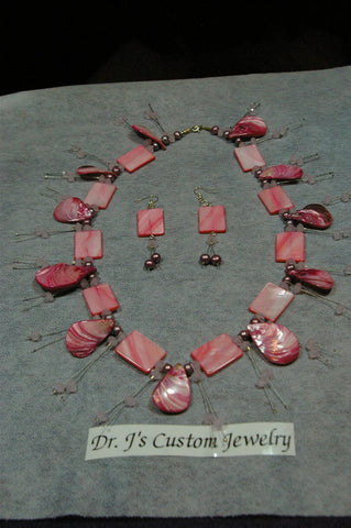 Pink Mother of Pearl and Copper Beaded Necklace Set