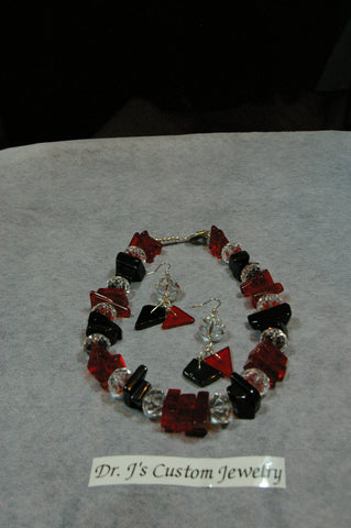 Natural Black Onyx, Ruby Hot Red Crystal Beads and Clear Round Beaded Necklace Set
