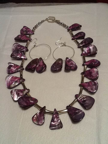 Purple Mother of Pearl and Silver Plated Long Bone Beaded Necklace Set